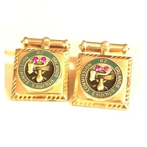 Cufflinks gold over silver with rubies